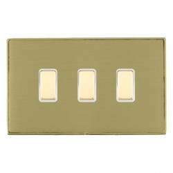 Hamilton Linea-Duo CFX Polished Brass/Satin Brass 3 Gang Multi way Touch Slave Trailing Edge with White I...