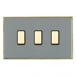 Hamilton Linea-Duo CFX Polished Brass/Satin Steel 3 Gang Multi way Touch Slave Trailing Edge with Black I...