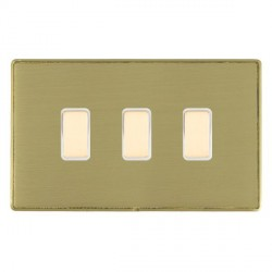 Hamilton Linea-Duo CFX Satin Brass/Satin Brass 3 Gang Multi way Touch Slave Trailing Edge with White Inse...