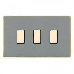 Hamilton Linea-Duo CFX Satin Brass/Satin Steel 3 Gang Multi way Touch Slave Trailing Edge with Black Inse...