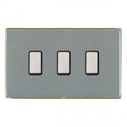 Hamilton Linea-Duo CFX Satin Nickel/Satin Steel 3 Gang Multi way Touch Slave Trailing Edge with Black Ins...