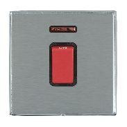 Hamilton Linea-Duo CFX Bright Chrome/Satin Steel 1 Gang 45A Double Pole Red Rocker + neon with Black Inse...