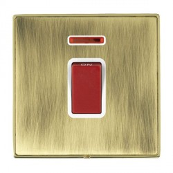Hamilton Linea-Duo CFX Polished Brass/Antique Brass 1 Gang 45A Double Pole Red Rocker + neon with White Insert