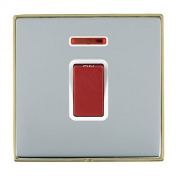 Hamilton Linea-Duo CFX Polished Brass/Bright Steel 1 Gang 45A Double Pole Red Rocker + neon with White Insert