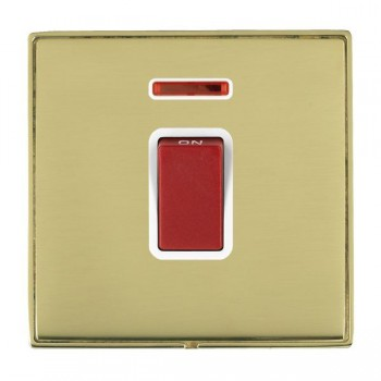 Hamilton Linea-Duo CFX Polished Brass/Polished Brass 1 Gang 45A Double Pole Red Rocker + neon with White Insert