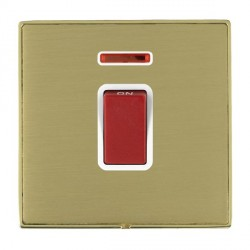 Hamilton Linea-Duo CFX Polished Brass/Satin Brass 1 Gang 45A Double Pole Red Rocker + neon with White Insert