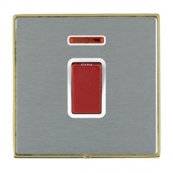 Hamilton Linea-Duo CFX Polished Brass/Satin Steel 1 Gang 45A Double Pole Red Rocker + neon with White Insert
