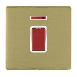 Hamilton Linea-Duo CFX Satin Brass/Satin Brass 1 Gang 45A Double Pole Red Rocker + neon with White Insert