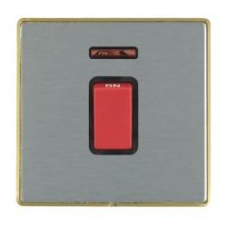 Hamilton Linea-Duo CFX Satin Brass/Satin Steel 1 Gang 45A Double Pole Red Rocker + neon with Black Insert