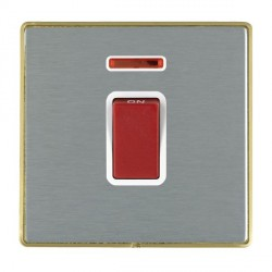 Hamilton Linea-Duo CFX Satin Brass/Satin Steel 1 Gang 45A Double Pole Red Rocker + neon with White Insert