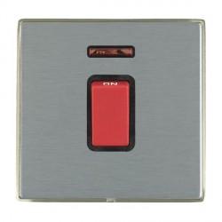 Hamilton Linea-Duo CFX Satin Nickel/Satin Steel 1 Gang 45A Double Pole Red Rocker + neon with Black Inser...