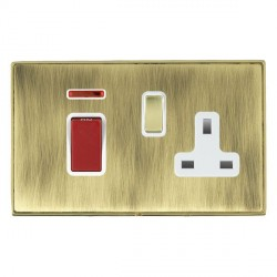 Hamilton Linea-Duo CFX Polished Brass/Antique Brass 1 Gang Double Pole 45A Red Rocker + 13A Switched Socket with White Insert