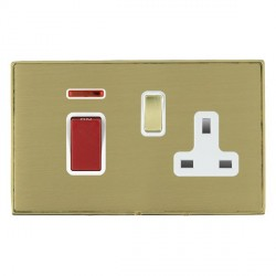 Hamilton Linea-Duo CFX Polished Brass/Satin Brass 1 Gang Double Pole 45A Red Rocker + 13A Switched Socket...