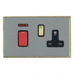 Hamilton Linea-Duo CFX Polished Brass/Satin Steel 1 Gang Double Pole 45A Red Rocker + 13A Switched Socket...
