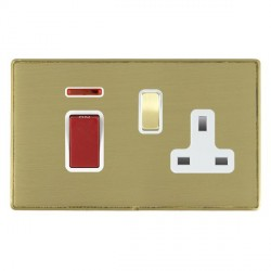 Hamilton Linea-Duo CFX Satin Brass/Satin Brass 1 Gang Double Pole 45A Red Rocker + 13A Switched Socket wi...