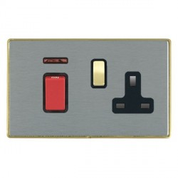 Hamilton Linea-Duo CFX Satin Brass/Satin Steel 1 Gang Double Pole 45A Red Rocker + 13A Switched Socket wi...