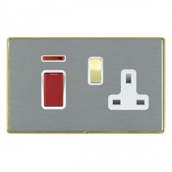 Hamilton Linea-Duo CFX Satin Brass/Satin Steel 1 Gang Double Pole 45A Red Rocker + 13A Switched Socket with White Insert