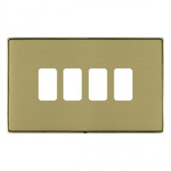 Hamilton Linea-Duo CFX Antique Brass/Satin Brass 4 Gang Grid Fix Aperture Plate with Grid