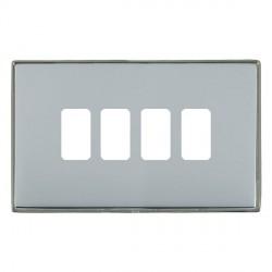 Hamilton Linea-Duo CFX Black Nickel/Bright Steel 4 Gang Grid Fix Aperture Plate with Grid