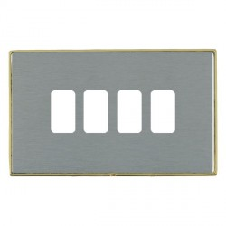 Hamilton Linea-Duo CFX Polished Brass/Satin Steel 4 Gang Grid Fix Aperture Plate with Grid
