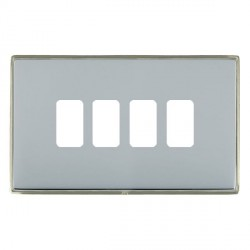 Hamilton Linea-Duo CFX Satin Nickel/Bright Steel 4 Gang Grid Fix Aperture Plate with Grid