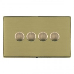 Hamilton Linea-Duo CFX Antique Brass/Satin Brass Push On/Off 400W Dimmer 4 Gang 2 way with Antique Brass Insert