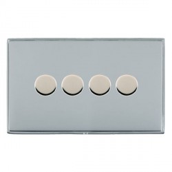 Hamilton Linea-Duo CFX Bright Chrome/Bright Chrome Push On/Off 400W Dimmer 4 Gang 2 way with Bright Chrome Insert