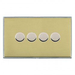 Hamilton Linea-Duo CFX Bright Chrome/Polished Brass Push On/Off 400W Dimmer 4 Gang 2 way with Bright Chrome Insert