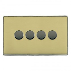 Hamilton Linea-Duo CFX Black Nickel/Polished Brass Push On/Off 400W Dimmer 4 Gang 2 way with Black Nickel Insert