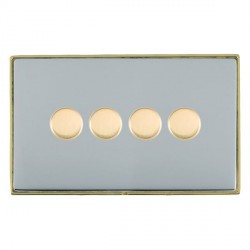 Hamilton Linea-Duo CFX Polished Brass/Bright Steel Push On/Off 400W Dimmer 4 Gang 2 way with Polished Brass Insert