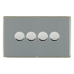 Hamilton Linea-Duo CFX Satin Nickel/Satin Steel Push On/Off 400W Dimmer 4 Gang 2 way with Satin Steel Insert