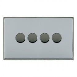 Hamilton Linea-Duo CFX Black Nickel/Bright Steel Push On/Off 250W/VA Dimmer 4 Gang Multi-way Trailing Edge with Black Nickel Insert