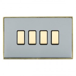 Hamilton Linea-Duo CFX Polished Brass/Bright Steel 4 Gang Multi way Touch Master Trailing Edge with Black...