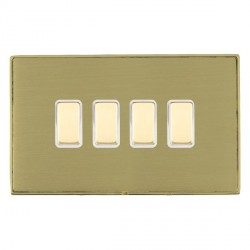 Hamilton Linea-Duo CFX Polished Brass/Satin Brass 4 Gang Multi way Touch Master Trailing Edge with White ...