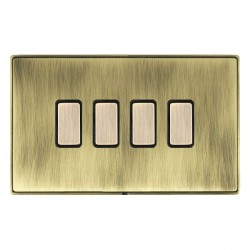 Hamilton Linea-Duo CFX Antique Brass/Antique Brass 4 Gang Multi way Touch Slave Trailing Edge with Black ...