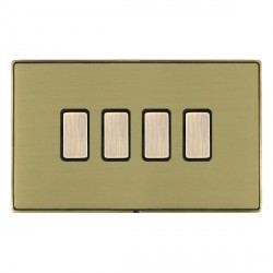 Hamilton Linea-Duo CFX Antique Brass/Satin Brass 4 Gang Multi way Touch Slave Trailing Edge with Black Insert