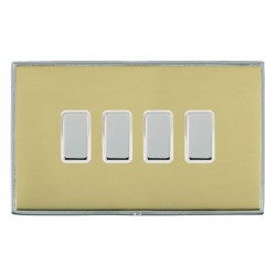 Hamilton Linea-Duo CFX Bright Chrome/Polished Brass 4 Gang Multi way Touch Slave Trailing Edge with White...