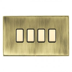 Hamilton Linea-Duo CFX Polished Brass/Antique Brass 4 Gang Multi way Touch Slave Trailing Edge with Black Insert