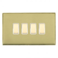 Hamilton Linea-Duo CFX Polished Brass/Polished Brass 4 Gang Multi way Touch Slave Trailing Edge with Whit...