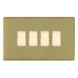 Hamilton Linea-Duo CFX Satin Brass/Satin Brass 4 Gang Multi way Touch Slave Trailing Edge with White Inse...