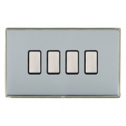 Hamilton Linea-Duo CFX Satin Nickel/Bright Steel 4 Gang Multi way Touch Slave Trailing Edge with Black Insert