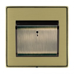 Hamilton Linea-Duo CFX Antique Brass/Satin Brass 1 Gang On/Off 10A Card Switch with Blue LED Locator with Black Insert
