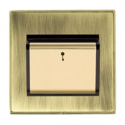 Hamilton Linea-Duo CFX Polished Brass/Antique Brass 1 Gang On/Off 10A Card Switch with Blue LED Locator with Black Insert