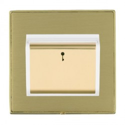 Hamilton Linea-Duo CFX Polished Brass/Satin Brass 1 Gang On/Off 10A Card Switch with Blue LED Locator wit...