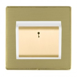 Hamilton Linea-Duo CFX Satin Brass/Satin Brass 1 Gang On/Off 10A Card Switch with Blue LED Locator with W...