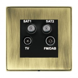 Hamilton Linea-Duo CFX Antique Brass/Antique Brass TV+FM+SAT+SAT (DAB Compatible) with Black Insert