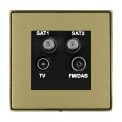 Hamilton Linea-Duo CFX Antique Brass/Satin Brass TV+FM+SAT+SAT (DAB Compatible) with Black Insert