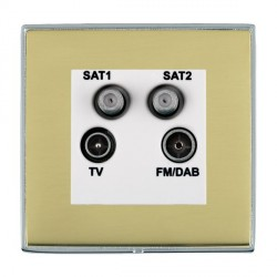 Hamilton Linea-Duo CFX Bright Chrome/Polished Brass TV+FM+SAT+SAT (DAB Compatible) with White Insert