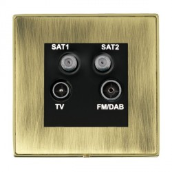 Hamilton Linea-Duo CFX Polished Brass/Antique Brass TV+FM+SAT+SAT (DAB Compatible) with Black Insert