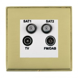 Hamilton Linea-Duo CFX Polished Brass/Polished Brass TV+FM+SAT+SAT (DAB Compatible) with White Insert